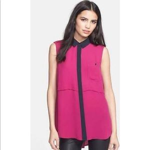 Marc Jacobs Hot Pink Silk Georgette Horizon Top